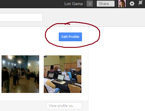 Click on the blue Edit Profile button in upper right area of your Google Plus profile to edit it