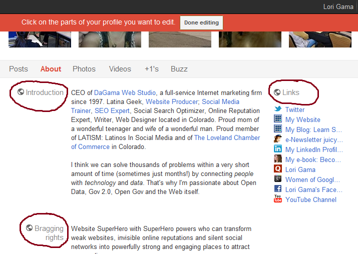 Edit sections of your Google+ profile