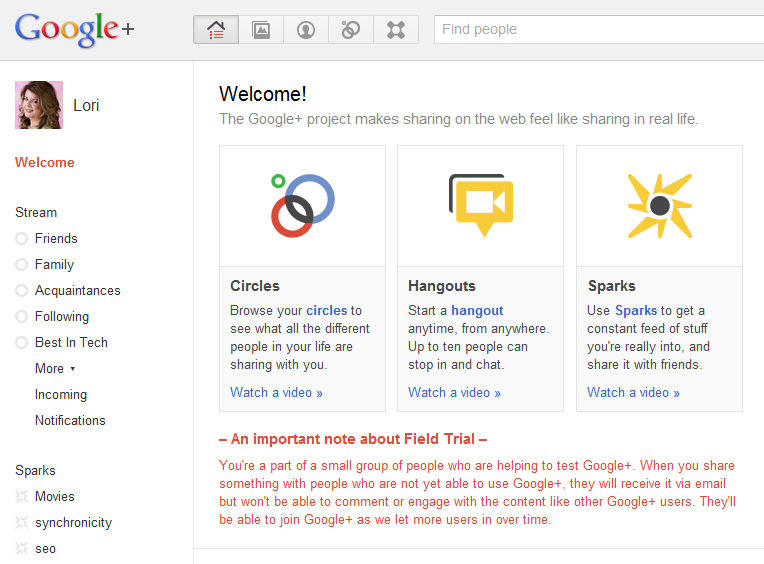 If you're in Google+ in the summer of 2011, you're part of the Field Trial - BETA users invited by Google.