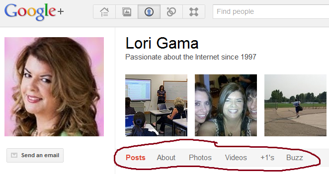 Navigation menu of your Google Plus Profile