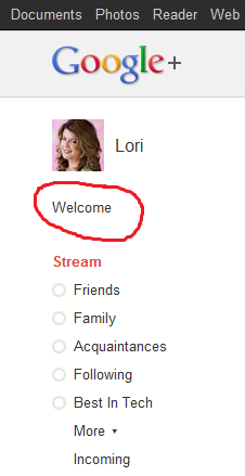 Click on the word welcome underneath your Google+ profile photo for tips
